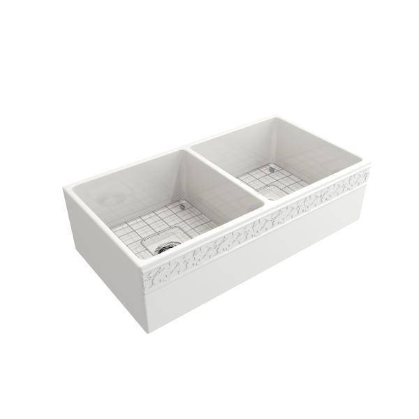 "Bocchi Vigneto 36"" White Fireclay Double Bowl Farmhouse Sink w/ Grid - Annie & Oak"