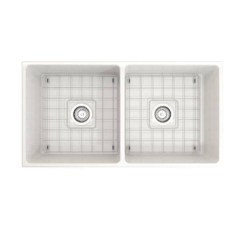 "Image of Bocchi Vigneto 36"" White Fireclay Double Bowl Farmhouse Sink w/ Grid - Annie & Oak"