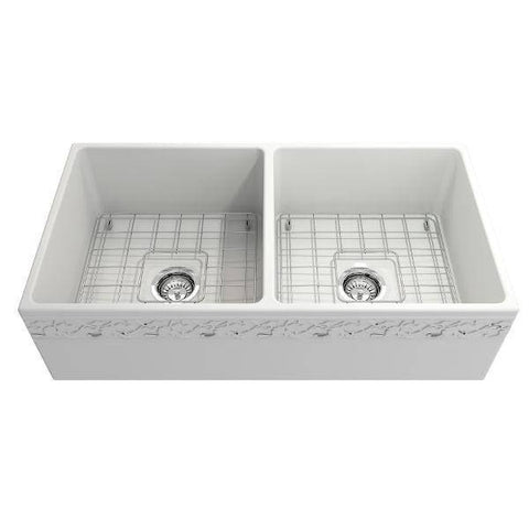 "Image of Bocchi Vigneto 36"" Matte White Fireclay Double Bowl Farmhouse Sink w/ Grid-Annie & Oak"