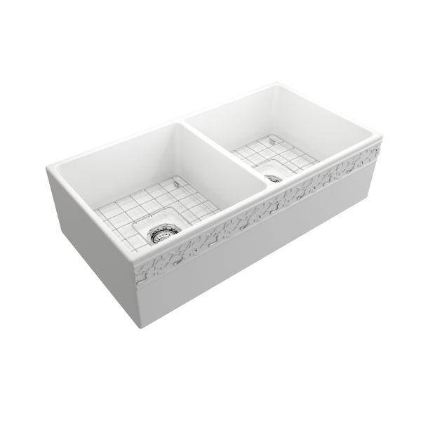 "Bocchi Vigneto 36"" Matte White Fireclay Double Bowl Farmhouse Sink w/ Grid - Annie & Oak"