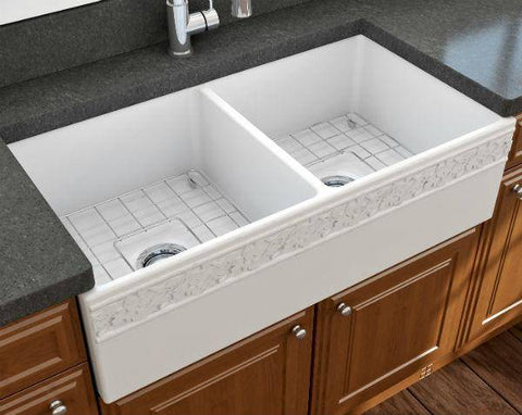 "Image of Bocchi Vigneto 36"" Matte White Fireclay Double Bowl Farmhouse Sink w/ Grid - Annie & Oak"