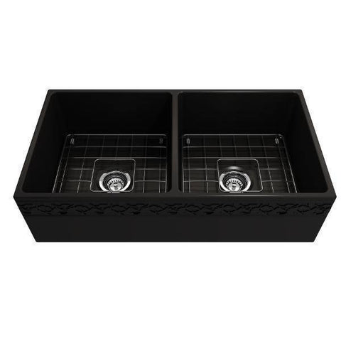 "Bocchi Black 36"" Fireclay Farmhouse Sink Double Bowl Vigneto w/ Grid-Annie & Oak"