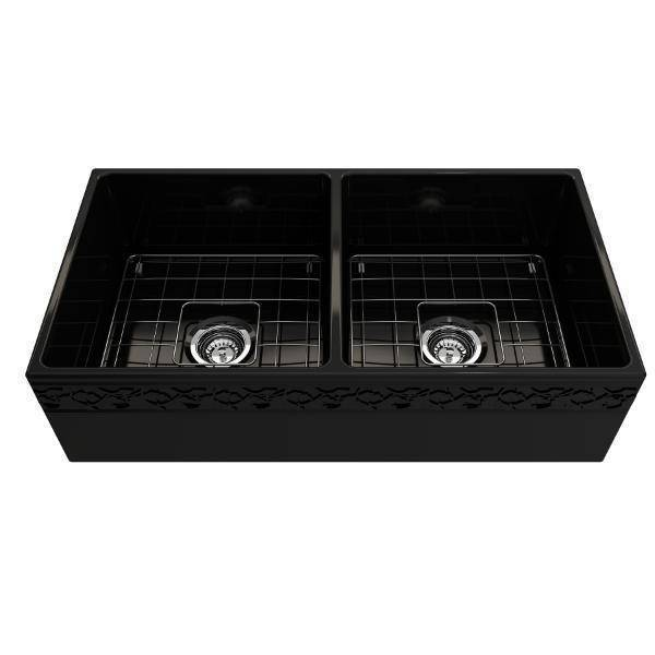 "Bocchi Vigneto 36"" Black Fireclay Double Bowl Farmhouse Sink w/ Grid - Annie & Oak"