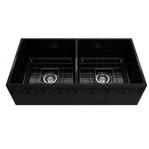 "Image of Bocchi Vigneto 36"" Black Fireclay Double Bowl Farmhouse Sink w/ Grid - Annie & Oak"