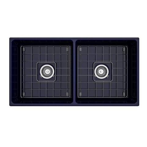 "Image of Bocchi Vigneto 36"" Blue Fireclay Double Bowl Farmhouse Sink w/ Grid-Annie & Oak"