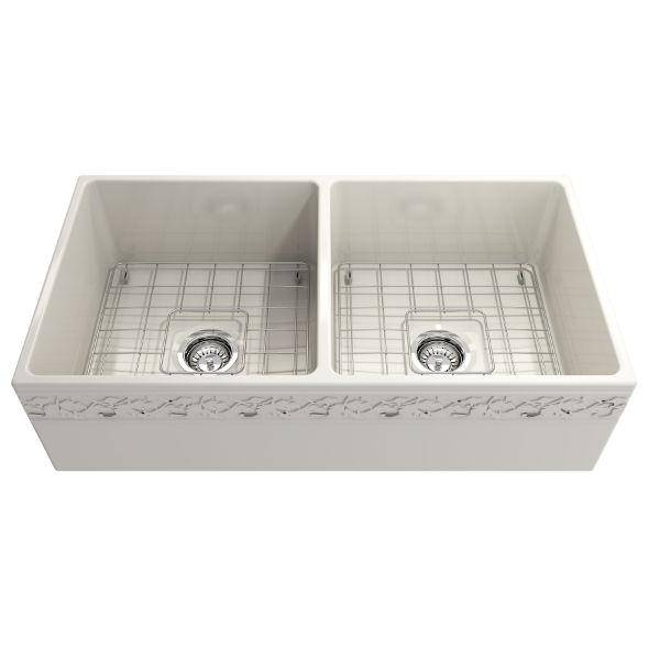 "Bocchi Vigneto 36"" Biscuit Fireclay Double Bowl Farmhouse Sink w/ Grid - Annie & Oak"