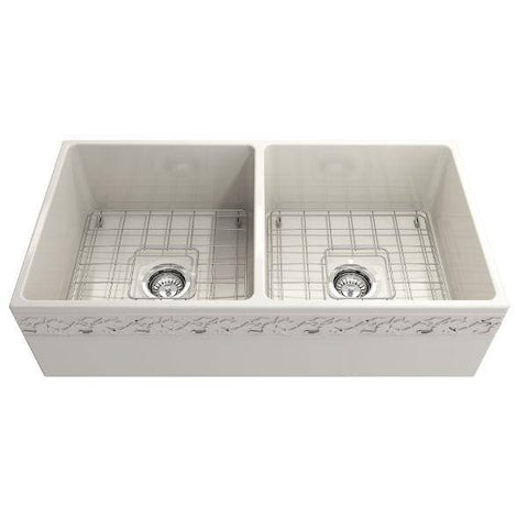 "Image of Bocchi Vigneto 36"" Biscuit Fireclay Double Bowl Farmhouse Sink w/ Grid-Annie & Oak"