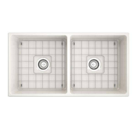 "Image of Bocchi Vigneto 36"" Biscuit Fireclay Double Bowl Farmhouse Sink w/ Grid - Annie & Oak"
