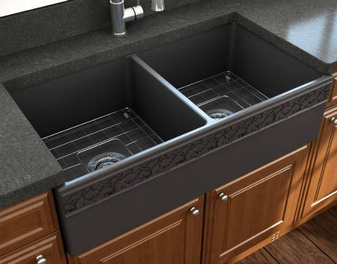 "Image of Bocchi Vigneto 36"" Dark Gray Fireclay Double Bowl Farmhouse Sink w/ Grid - Annie & Oak"