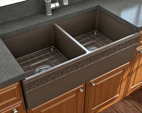"Bocchi Vigneto 36"" Brown Fireclay Double Bowl Farmhouse Sink w/ Grid-Annie & Oak"