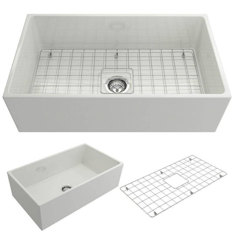 Image of Bocchi Contempo 33 Fireclay Farmhouse Sink Single Bowl w/ grid out side of sink