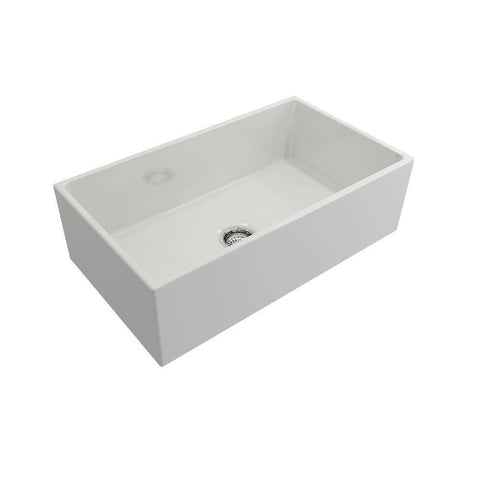 Image of Bocchi Contempo 33 White Fireclay Farmhouse Sink Single Bowl side view without grid