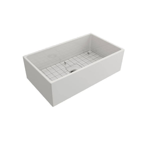 Image of Bocchi Contempo 33 Fireclay white Farmhouse Sink Single Bowl left side view with grid