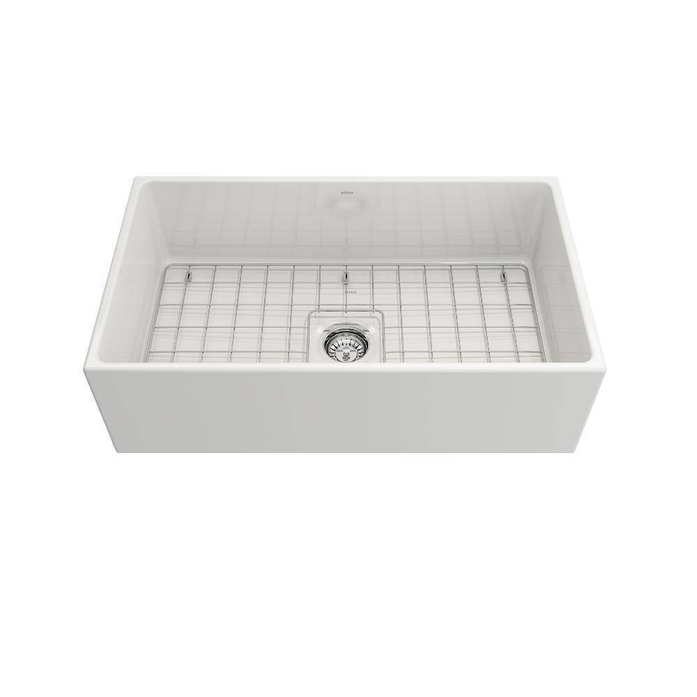 Bocchi Contempo white 33 Fireclay Farmhouse Sink Single Bowl w/ Grid Front View