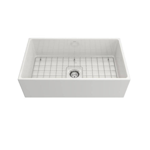Image of Bocchi Contempo white 33 Fireclay Farmhouse Sink Single Bowl w/ Grid Front View
