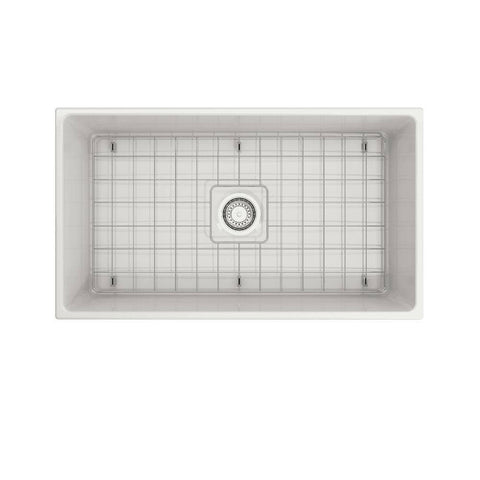 Image of Bocchi white Contempo 33 Fireclay Farmhouse Sink Single Bowl Top view with bottom grid