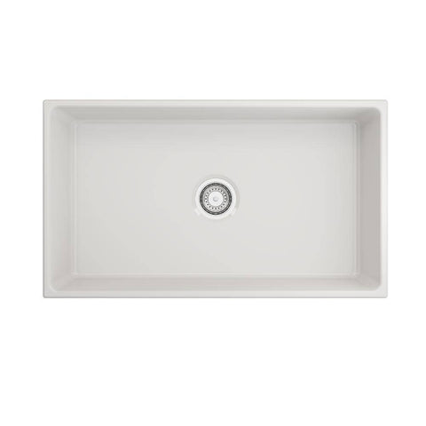 Image of Bocchi Contempo 33 Fireclay Farmhouse Sink Single Bowl top view without grid