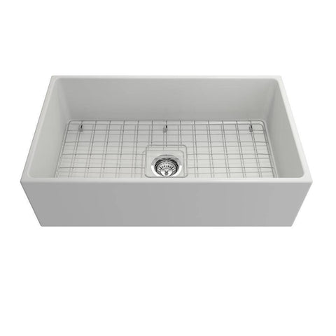 Image of Bocchi Contempo 33 Fireclay Farmhouse Sink Single Bowl w/ Grid-Annie & Oak