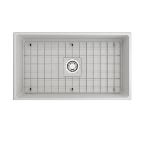 Image of Bocchi Contempo 33 Matte White Fireclay Single Bowl Farmhouse Sink w/ Grid-Annie & Oak