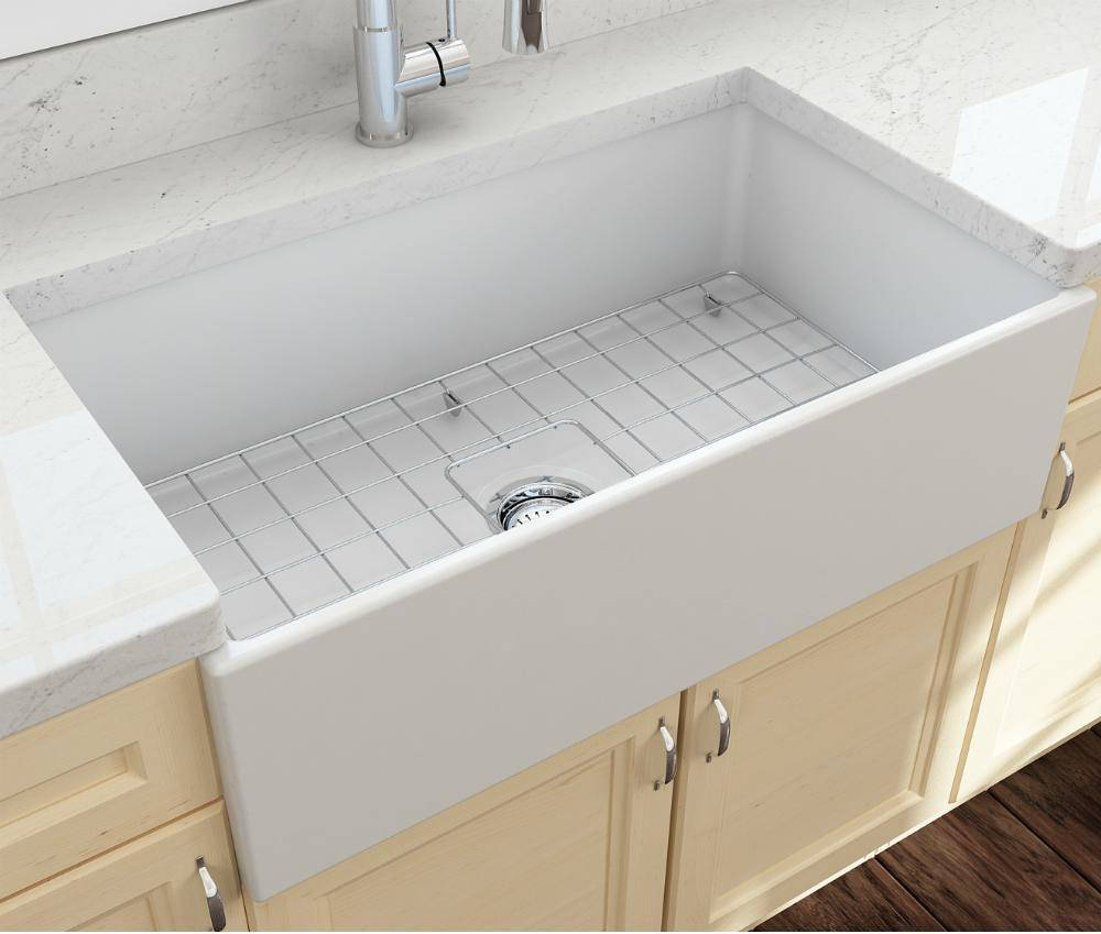Bocchi Contempo 33 Matte White Fireclay Single Bowl Farmhouse Sink w/ Grid-Annie & Oak