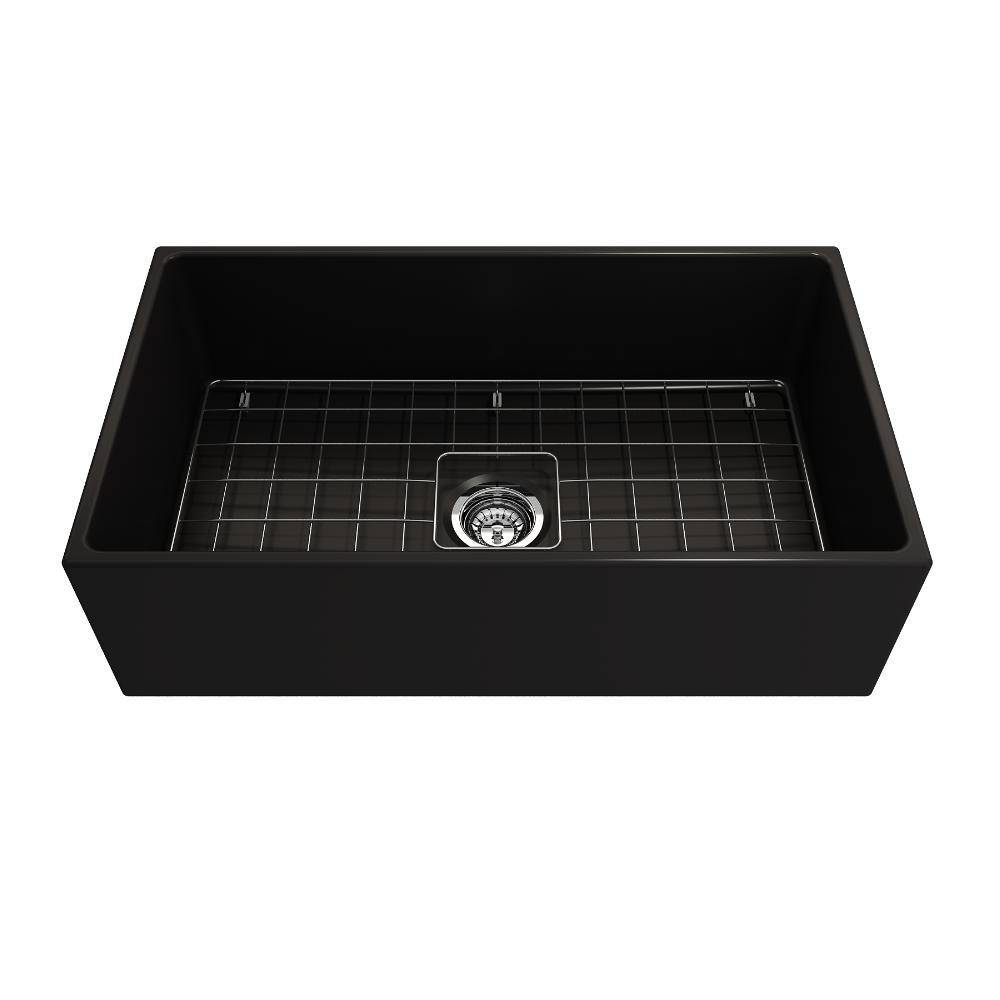 Bocchi Contempo 33 Matte Black Fireclay Single Bowl Farmhouse Sink w/ Grid - Annie & Oak