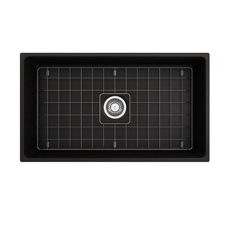 Bocchi Contempo 33 Matte Black Fireclay Single Bowl Farmhouse Sink w/ Grid-Annie & Oak