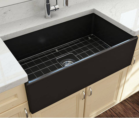 Image of Bocchi Contempo 33 Matte Black Fireclay Single Bowl Farmhouse Sink w/ Grid - Annie & Oak
