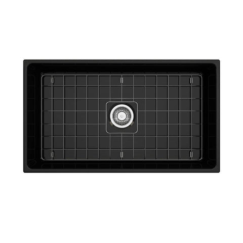 Image of Bocchi Contempo 33 Black Fireclay Single Bowl Farmhouse Sink w/ Grid - Annie & Oak