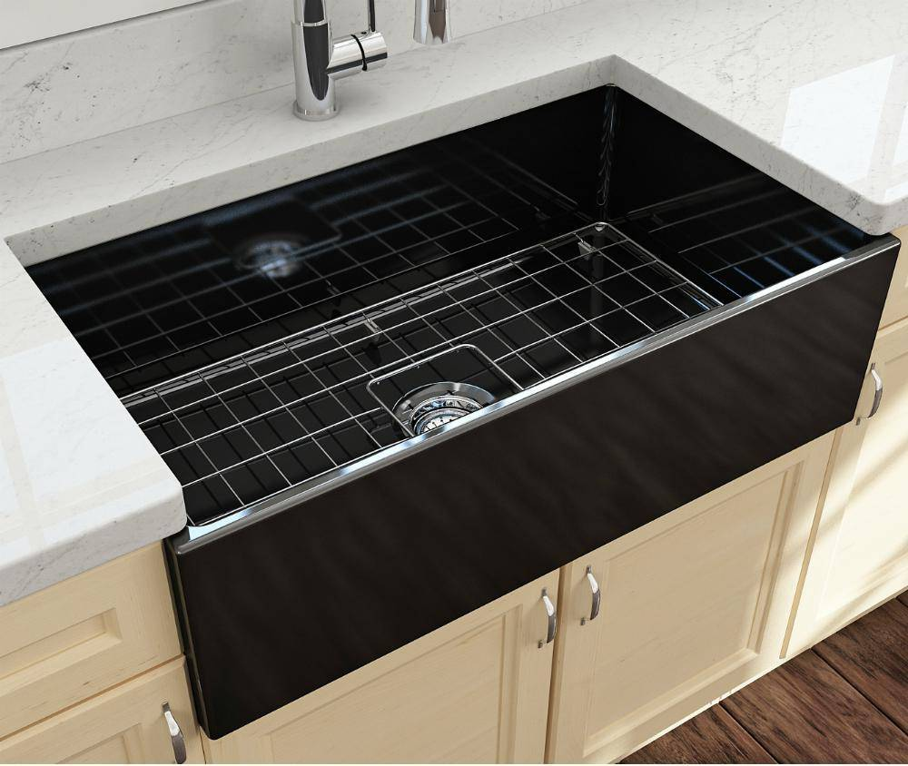 Bocchi Contempo 33 Black Fireclay Single Bowl Farmhouse Sink w/ Grid - Annie & Oak
