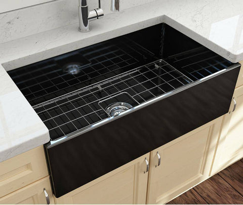 Bocchi Contempo 33 Black Fireclay Single Bowl Farmhouse Sink w/ Grid-Annie & Oak
