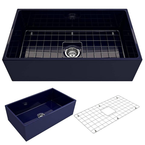Bocchi Contempo 33 Blue Fireclay Single Bowl Farmhouse Sink w/ Grid - Annie & Oak