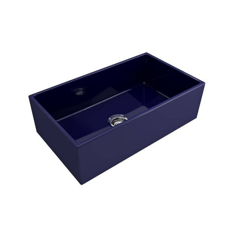 Bocchi Contempo 33 Blue Fireclay Single Bowl Farmhouse Sink w/ Grid-Annie & Oak