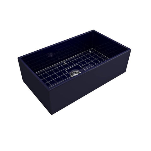 Image of Bocchi Contempo 33 Blue Fireclay Single Bowl Farmhouse Sink w/ Grid - Annie & Oak