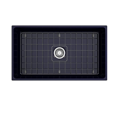 Image of Bocchi Contempo 33 Blue Fireclay Single Bowl Farmhouse Sink w/ Grid-Annie & Oak