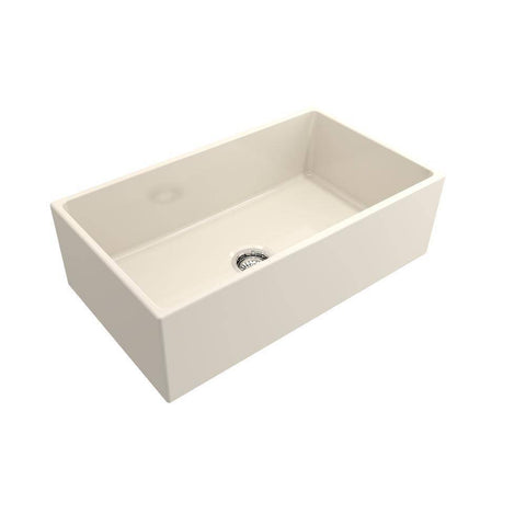 Bocchi Contempo 33 Biscuit Fireclay Single Bowl Farmhouse Sink w/ Grid-Annie & Oak