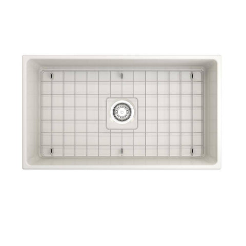 Image of Bocchi Contempo 33 Biscuit Fireclay Single Bowl Farmhouse Sink w/ Grid - Annie & Oak