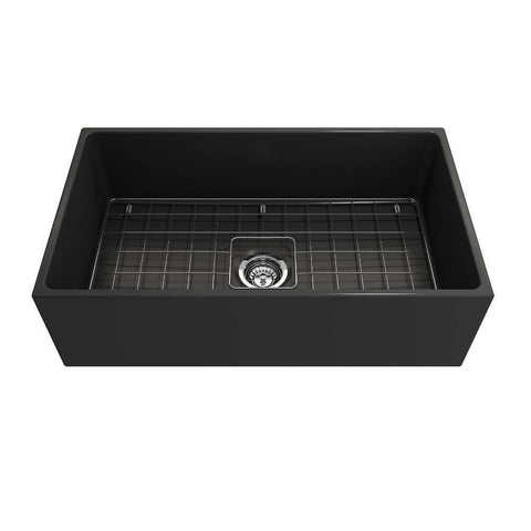 Image of Bocchi Contempo 33 Dark Gray Fireclay Single Bowl Farmhouse Sink w/ Grid-Annie & Oak