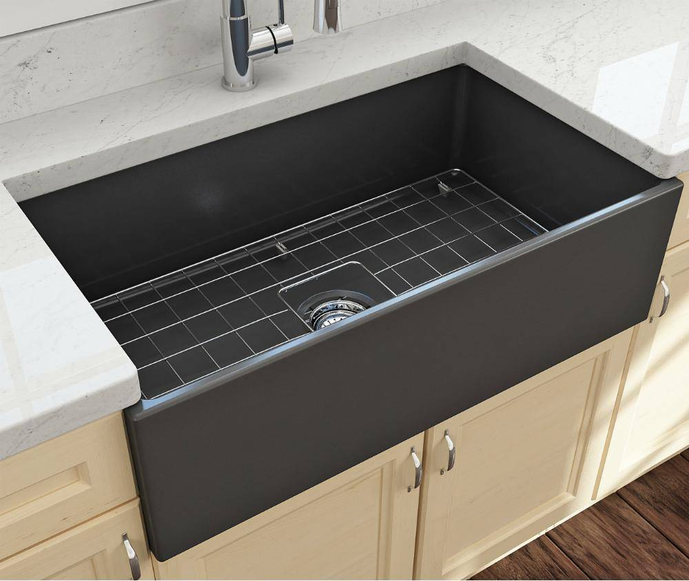 Bocchi Contempo 33 Dark Gray Fireclay Single Bowl Farmhouse Sink w/ Grid-Annie & Oak
