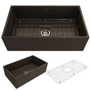 Bocchi Contempo 33 Matte Brown Fireclay Single Bowl Farmhouse Sink w/ Grid