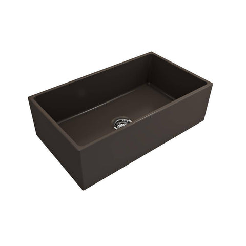 Bocchi Contempo 33 Matte Brown Fireclay Single Bowl Farmhouse Sink w/ Grid-Annie & Oak