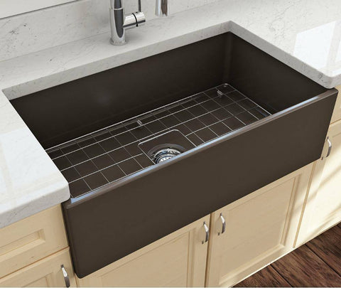 Image of Bocchi Contempo 33 Matte Brown Fireclay Single Bowl Farmhouse Sink w/ Grid - Annie & Oak