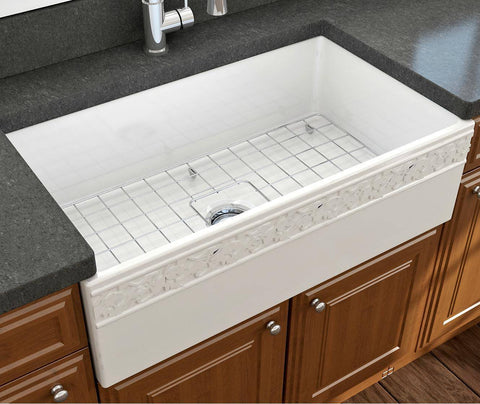 "Bocchi Vigneto 33"" White Fireclay Single Bowl Farmhouse Sink w/ Grid - Annie & Oak"