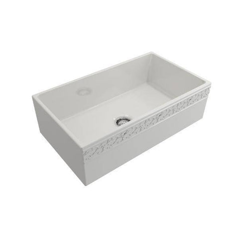 "Bocchi 33"" Fireclay Farmhouse Sink Single Bowl Vigneto w/ Grid-Annie & Oak"