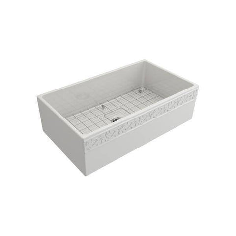 "Image of Bocchi 33"" Fireclay Farmhouse Sink Single Bowl Vigneto w/ Grid-Annie & Oak"