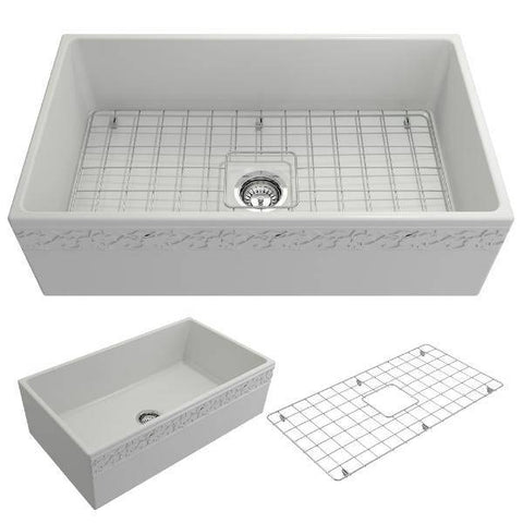 "Bocchi Vigneto 33"" Matte White Fireclay Single Bowl Farmhouse Sink w/ Grid-Annie & Oak"