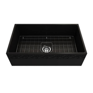 "Bocchi Black 33"" Fireclay Farmhouse Sink Single Bowl Vigneto w/ Grid-Annie & Oak"