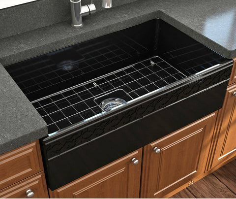 "Image of Bocchi Vigneto 33"" Black Fireclay Single Bowl Farmhouse Sink  w/ Grid - Annie & Oak"