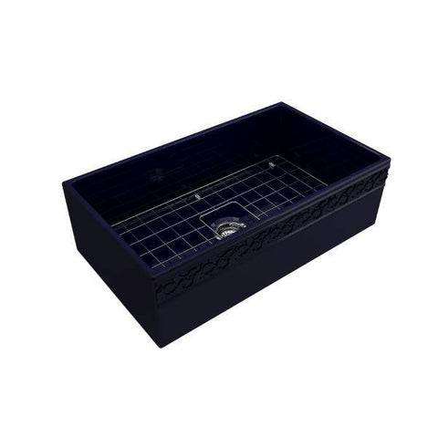"Image of Bocchi Vigneto 33"" Blue Fireclay Single Bowl Farmhouse Sink w/ Grid-Annie & Oak"