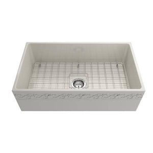 "Bocchi Vigneto 33"" Biscuit Fireclay Single Bowl Farmhouse Sink w/ Grid-Annie & Oak"