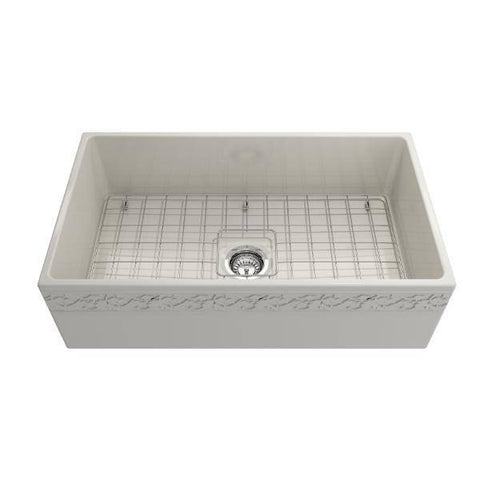 "Image of Bocchi Vigneto 33"" Biscuit Fireclay Single Bowl Farmhouse Sink w/ Grid - Annie & Oak"